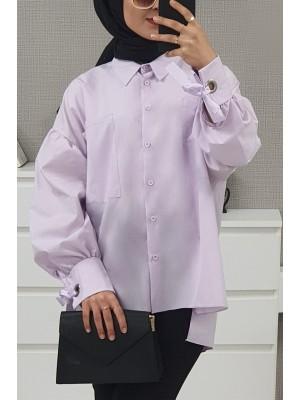 Ring Detailed Loose Shirt  -Lilac