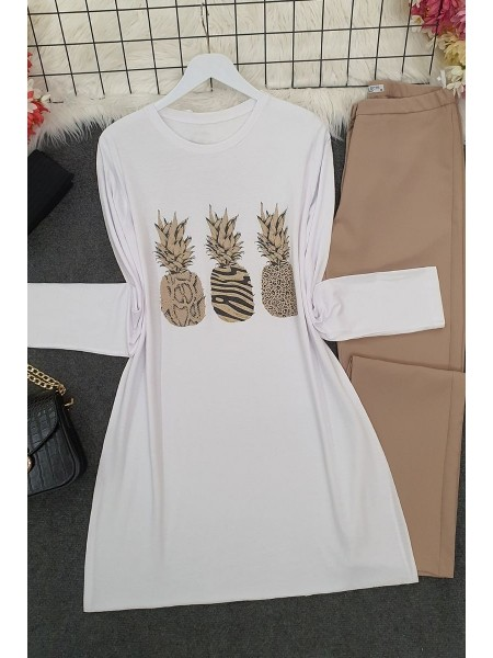 Pineapple Patterned Tunic -White