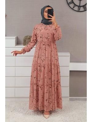 Tie Collar Floral Pattern Chiffon Dress -Powder