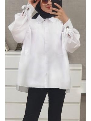 Ring Detailed Loose Shirt  -White