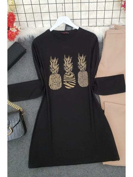 Pineapple Patterned Tunic -Black