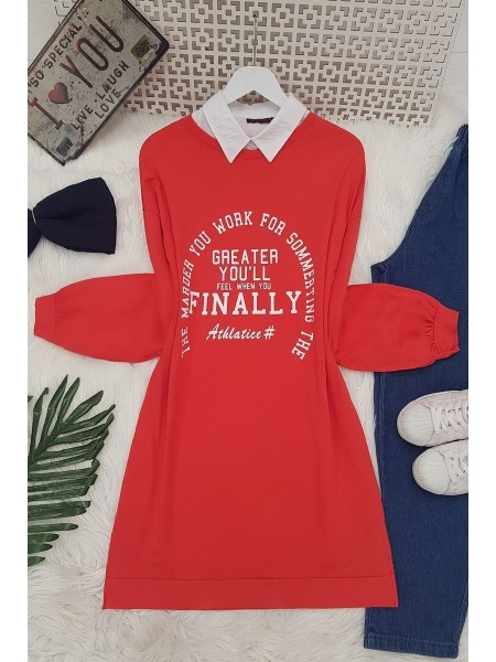 Text Printed Tunic -Red