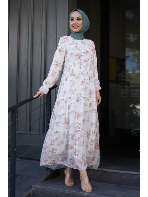 Tie Collar Floral Pattern Chiffon Dress -Ecru