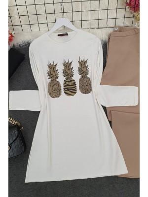 Pineapple Patterned Tunic -Ecru