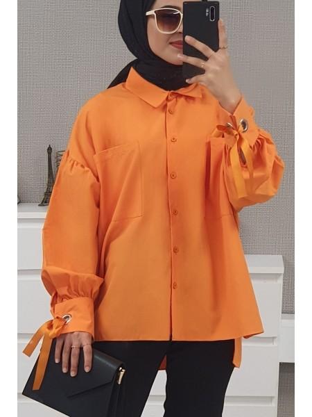 Ring Detailed Loose Shirt  -Orange