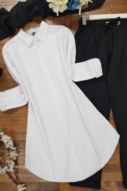 Uzun Düz Tunik Gömlek -Beyaz