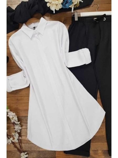 Long Straight Tunic Shirt -White