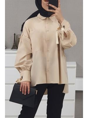 Ring Detailed Loose Shirt  -Light Mink