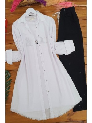 Long Linen Tunic With Six Tassels  -White