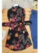 Rose Patterned Viscose Fabric Shirt -Garnet Color