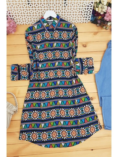 Embroidery Patterned Tunic -Black