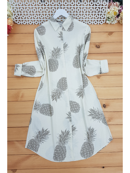 Pineapple Printed Shirt  -Mink color