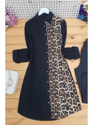 Leopard Patterned Tunic -Mink color