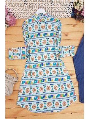 Embroidery Patterned Tunic -Sea green