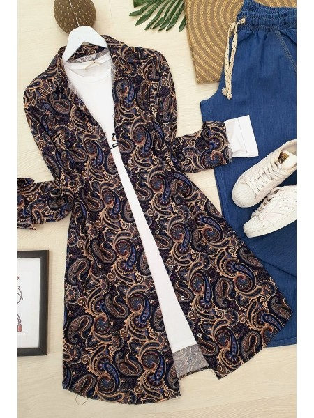 Ethnic Pattern Tunic -Navy blue
