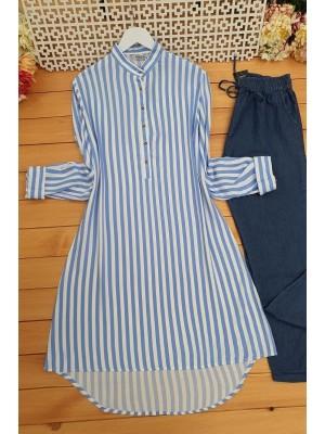 Striped Tunic  -Blue