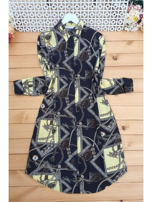 Compass Patterned Tunic -Black