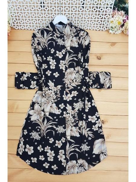 Floral Pattern Tunic -Black