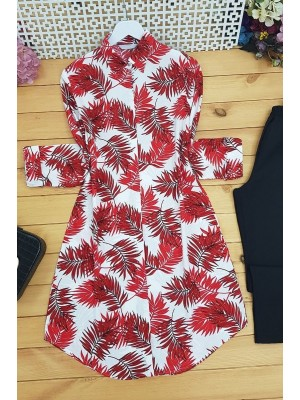 Palm Leaf Tunic -Red
