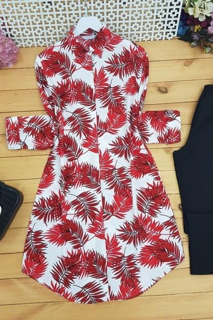 Palmiye Yapraklı Tunik -Kırmızı