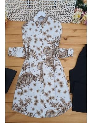 Floral Pattern Tunic  -Ecru