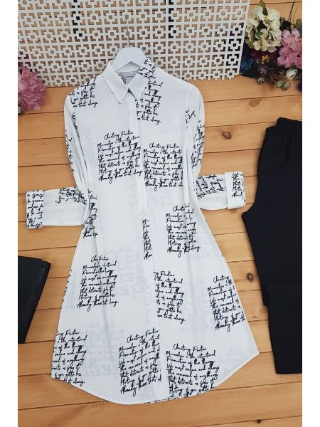 Letter Printed Tunic -White