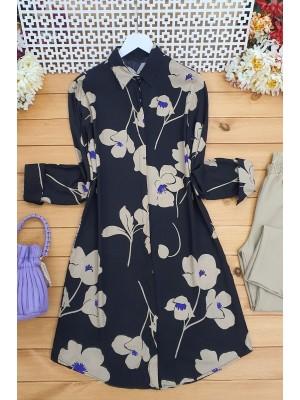 Poppy Print Tunic -Mink color