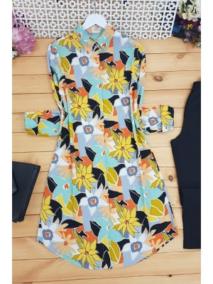 Floral Pattern Tunic -Yellow