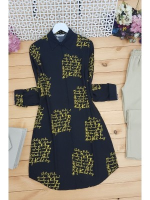 Letter Printed Tunic -Yellow