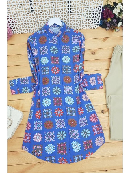 Ethnic Pattern Tunic  -İndigo