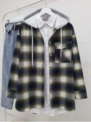 Kapşonlu Tek Cepli Yırtmaçlı Oduncu Gömlek    -Haki
