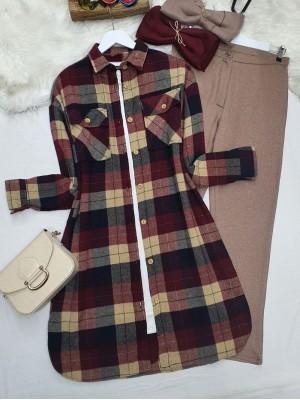 Double Pocket Button Down Lumberjack Shirt Tunic  - Beige