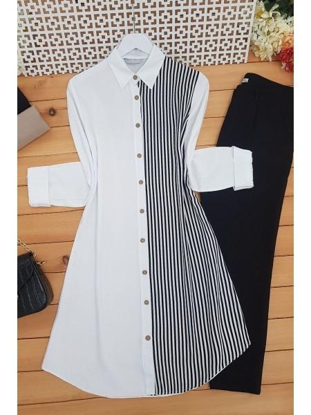 Wooden Button Shirt  -White