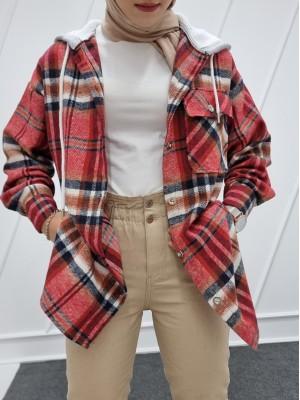 Hooded One Pocket Slit Lumberjack Shirt  -Garnet Color