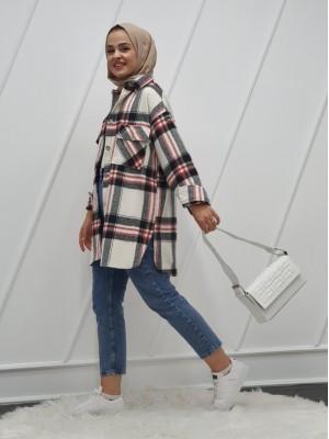 Double Pocket Slit Mid-Length Lumberjack Shirt -Ecru