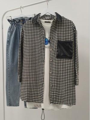 Collar and Pocket Leather Detailed Lumberjack Shirt -White