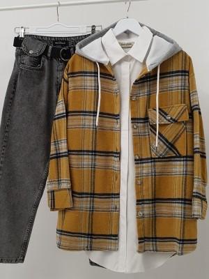 Hooded One Pocket Slit Lumberjack Shirt -Mustard