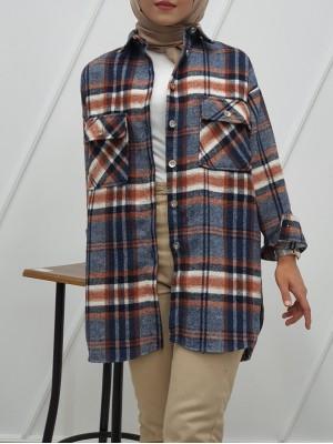 Double Pocket Slit Mid-Length Lumberjack Shirt -İndigo