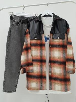Leather Detailed Slit Lumberjack Shirt -Orange