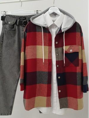 Kapşonlu Tek Cepli Yırtmaçlı Oduncu Gömlek -Kırmızı