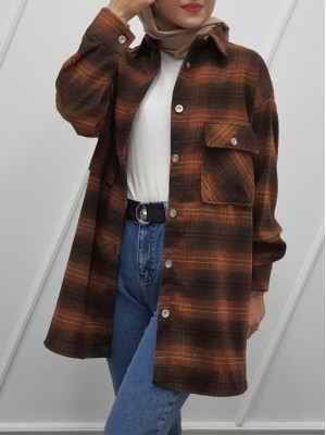 Double Pocket Slit Mid-Length Lumberjack Shirt -Brown