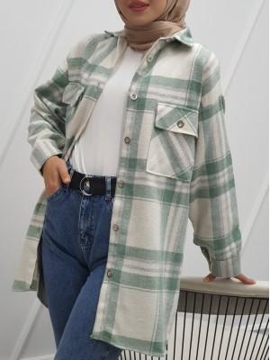 Double Pocket Slit Mid-Length Lumberjack Shirt -Mint Color