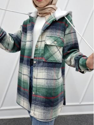 Hooded One Pocket Slit Lumberjack Shirt   -Emerald