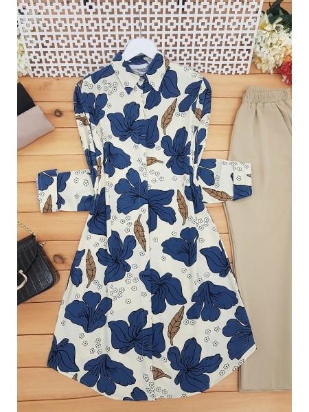 Lily Pattern Tunic - Beige