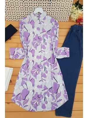 Big Leaf Patterned Tunic  -Lilac