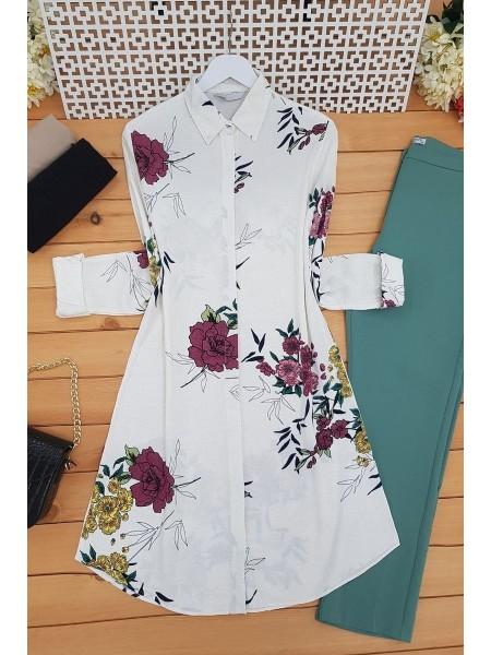 Floral Patterned Tunic -Ecru