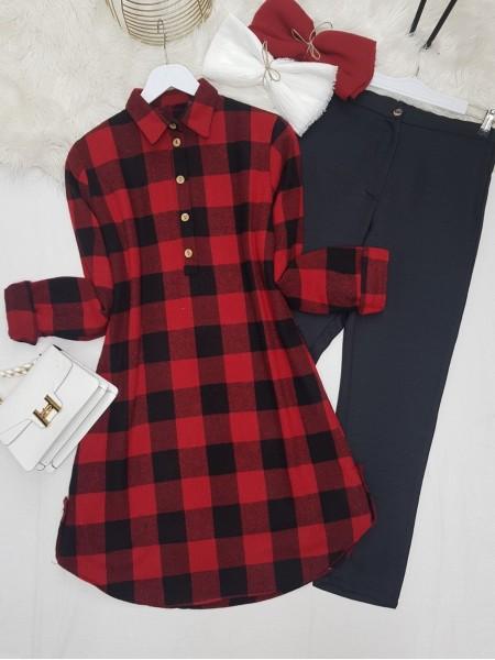 Half Button Lumberjack Tunic -Red
