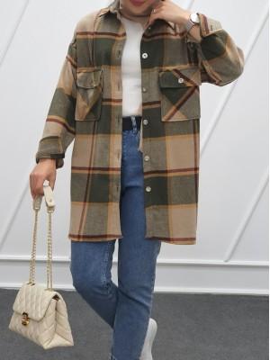 Double Pocket Slit Mid-Length Lumberjack Shirt -Mink color