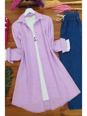 Long Linen Tunic With Six Tassels -Lilac