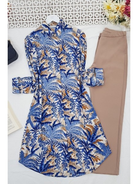 Leaf Patterned Tunic  -Saxe